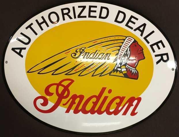 Indian Motocycle Emaljeskilt Oval 50x40 cm