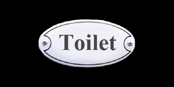 Toilet dørskilt 10 x 5 cm Emaljehuset