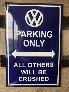 VW Parking only Emaljeskilt 20 x 30 cm Emaljehuset