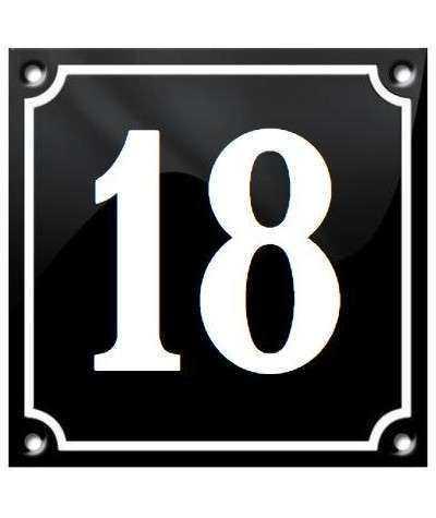 HUSNUMMER SORT 10 x 10 CM, NUMMER 1-50