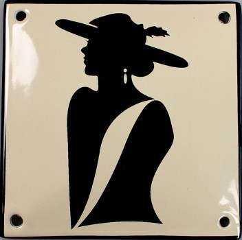 Dame med hat 10 x 10 cm Emaljehuset