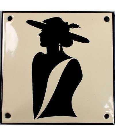 Dame med hat 10 x 10 cm