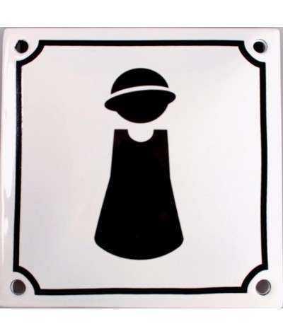 Dame - sort på hvid 10 x 10 cm