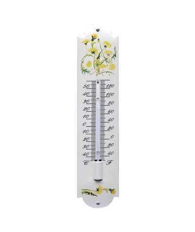 Termometer gule blomster 6,5 x 30 cm
