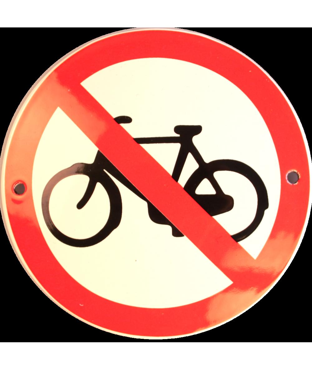 Cykler forbudt Ø 10 cm Emaljehuset