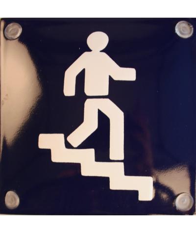 Mand på trapper - blå 10 x 10 cm