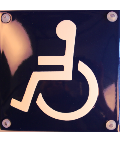 Mand i kørestol - blå 10 x 10 cm